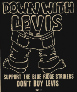 "The Levi-Strauss strikers ad in the May 1968 issue of ""The Movement."""