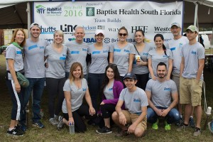 Shutts attorneys Michael Larmoyeux, Vanessa Septien, Don Wasil, Dana Chaaban, Christa Gardner, Melissa Patterer, Pilar Rubio, Larry Glick, and legal assistant Lizette Fernandez with their families at the 2016 Blitz Build.