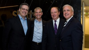 Miami-Dade County Mayor Carlos Gimenez (far right) with Arnstein & Lehr's Miguel de la Portilla, Shutts partner Marc Sarnoff and firmwide Managing Partner Micky Grindstaff.