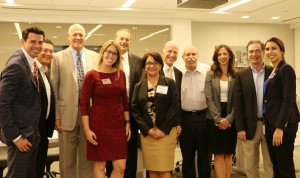 Shutts attorneys welcomed the judges during the event. From left to right: Aleksey Shtivelman, Logan Gans, Magistrate Judge John O'Sullivan, Jocelyn Mroz, Ed Patricoff, Martha Ferral, Judge Stanford Blake, Steve Gillman, Alina Quintana, Doug Kramer and Dana Chaaban.