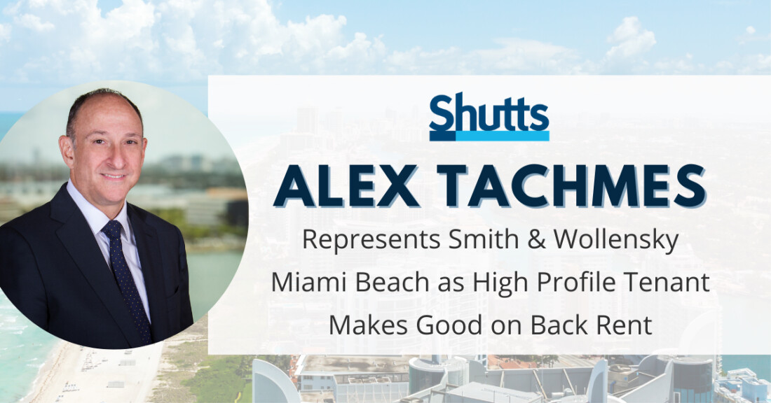 Alex Tachmes represents Smith & Wollensky Miami Beach
