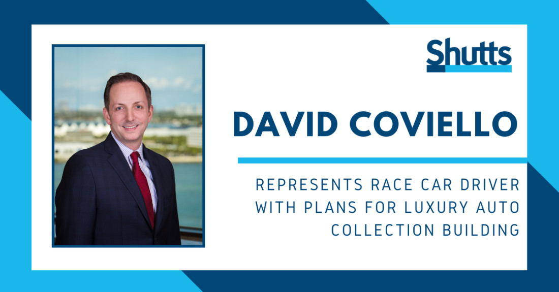 David Coviello represents Race Car Driver with Plans for Luxury Auto Collection Building