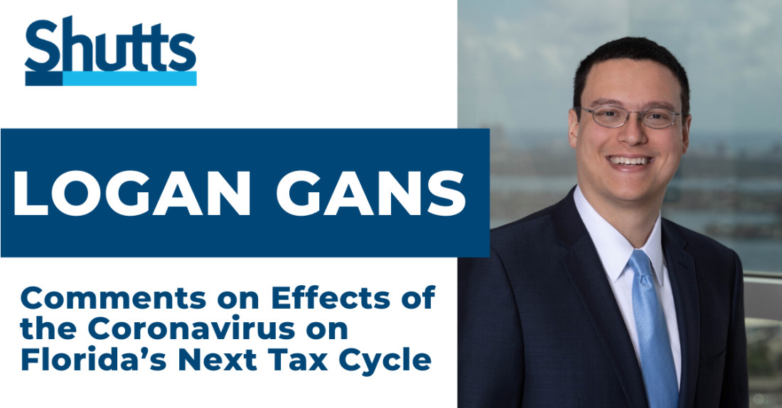 Logan Gans discusses the effects of the coronavirus on Florida's next tax cycle with The Real Deal