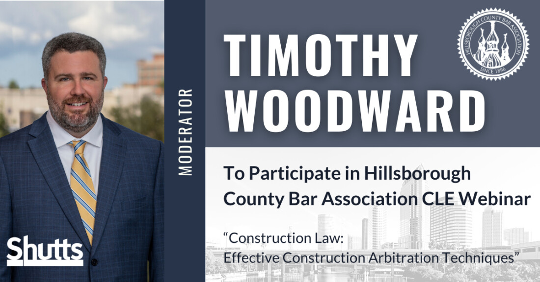 Timothy Woodward to Participate in Hillsborough County Bar Association CLE Webinar